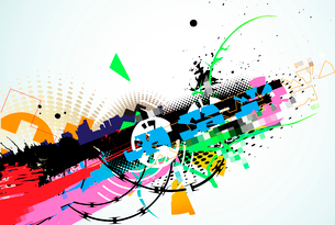 Vector illustration of abstract urban background with  colorful grunge Design elementsのイラスト素材 [FYI03072549]
