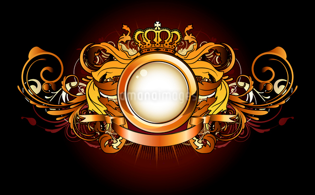 Vector illustration of heraldic golden frame or badge with crown, banner and floral elementsのイラスト素材 [FYI03072557]