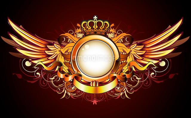 Vector illustration of heraldic golden frame or badge with crown, wings, banner and floral elementsのイラスト素材 [FYI03072559]