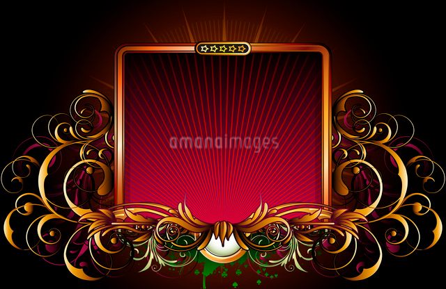 Vector illustration of titling golden frame with floral elementsのイラスト素材 [FYI03072561]
