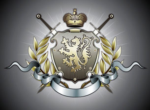Vector illustration of heraldic shield or badge with two swords, golden lion, crown, banner and florのイラスト素材 [FYI03072562]