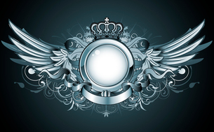 Vector illustration of heraldic frame or badge with crown, wings, banner and floral elementsのイラスト素材 [FYI03072564]