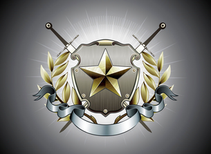 Vector illustration of heraldic shield or badge with star shape, laurel wreath, banner and two swordのイラスト素材 [FYI03072566]