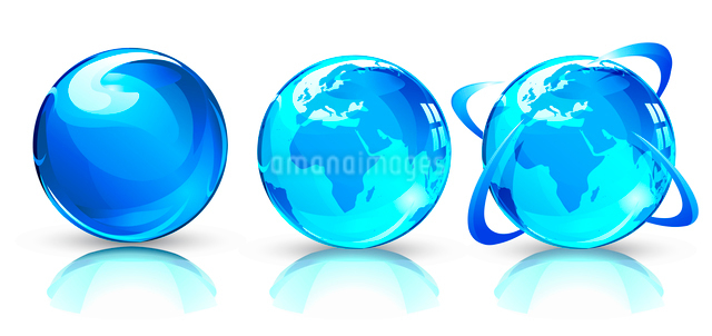 Vector illustration of three blue Glossy Earth Map Globesのイラスト素材 [FYI03072567]