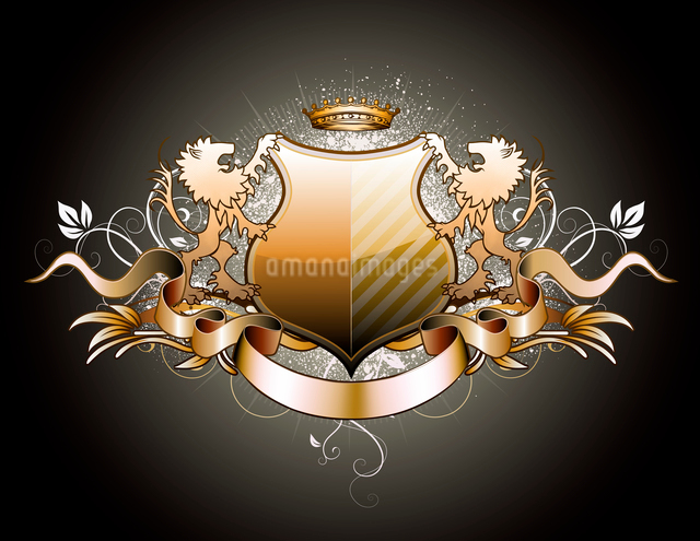 Vector illustration of heraldic shield or badge with two lions, crown, banner and floral elementsのイラスト素材 [FYI03072574]