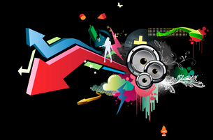 Vector illustration of grunge abstract party Background with music design elementsのイラスト素材 [FYI03072575]