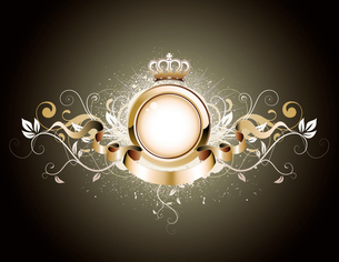 Vector illustration of golden heraldic frame or badge with crown, banner and floral elementsのイラスト素材 [FYI03072578]