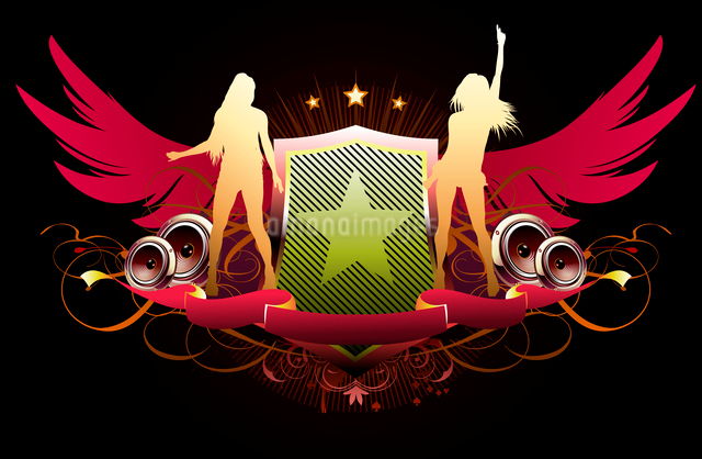 Vector illustration of abstract party insignia with music design elementsのイラスト素材 [FYI03072581]