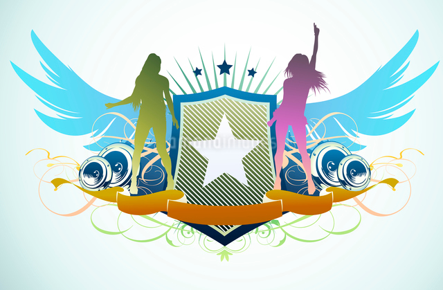 Vector illustration of abstract party insignia with music design elementsのイラスト素材 [FYI03072583]