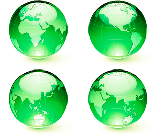 Vector illustration of green Glossy Earth Map Globes different anglesのイラスト素材 [FYI03072596]