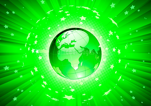 Vector illustration of abstract green Background with Glossy Earth Globeのイラスト素材 [FYI03072599]