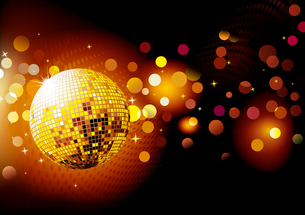 Vector illustration of abstract party Background with glowing lights and disco ballのイラスト素材 [FYI03072601]