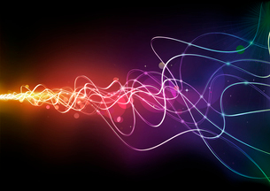 Vector illustration of  futuristic abstract glowing background resembling motion blurred neon lightのイラスト素材 [FYI03072604]