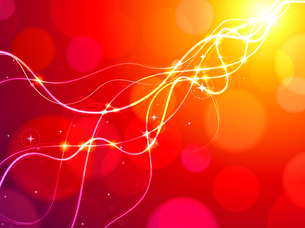 Vector illustration of red abstract glowing background resembling motion blurred neon light curvesのイラスト素材 [FYI03072608]