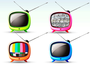 Vector illustration of funky styled design of cute televisionのイラスト素材 [FYI03072624]