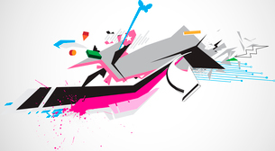 Vector illustration of abstract styled Decorative urban backgroundのイラスト素材 [FYI03072631]