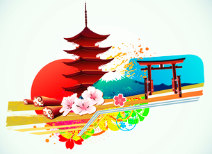 Vector illustration of abstract styled Decorative Traditional Japanese backgroundのイラスト素材 [FYI03072637]