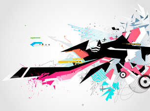 Vector illustration of abstract styled Decorative urban backgroundのイラスト素材 [FYI03072639]