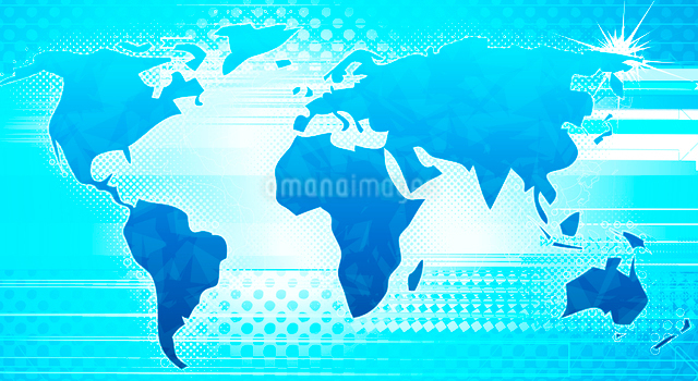 Vector illustration of blue abstract hi-tech Background with Glossy world mapのイラスト素材 [FYI03072644]