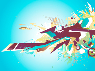 Vector illustration of blue abstract styled Decorative urban backgroundのイラスト素材 [FYI03072645]