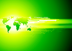 Vector illustration of green abstract hi-tech Background with Glossy world mapのイラスト素材 [FYI03072648]