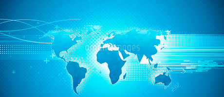 Vector illustration of blue abstract hi-tech Background with Glossy world mapのイラスト素材 [FYI03072652]