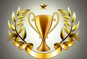 Vector illustration of golden Trophy with laurel wreath and ribbon badge to put a textのイラスト素材 [FYI03072657]