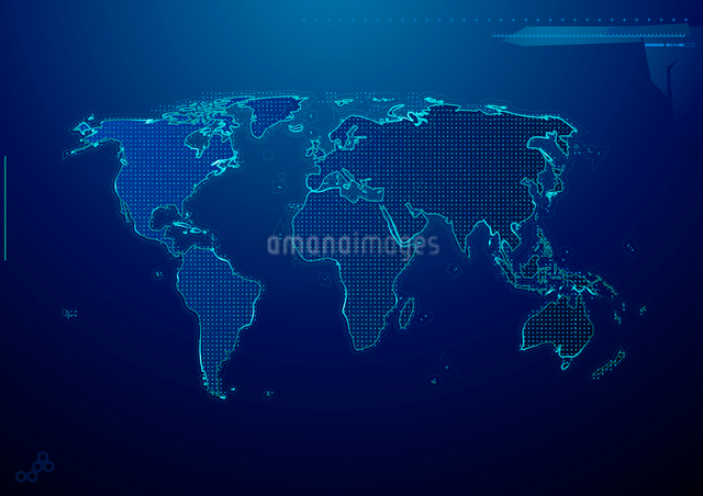 Vector illustration of blue abstract hi-tech Background with world mapのイラスト素材 [FYI03072663]
