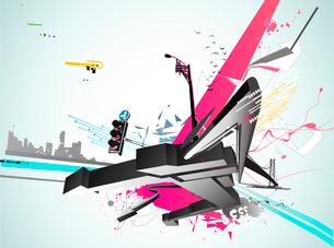 Vector illustration of styled Decorative urban backgroundのイラスト素材 [FYI03072680]