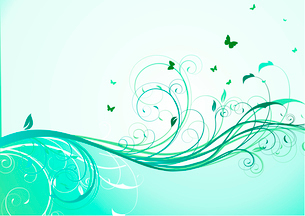 Vector illustration of abstract turquoise floral Backgroundのイラスト素材 [FYI03072696]