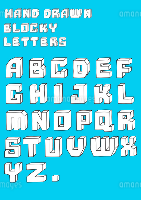 Vector illustration of retro Stylized hand drawn blosky big alphabet lettersのイラスト素材 [FYI03072699]