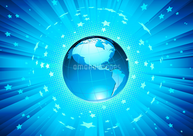 Vector illustration of abstract blue Background with Glossy Earth Globeのイラスト素材 [FYI03072700]