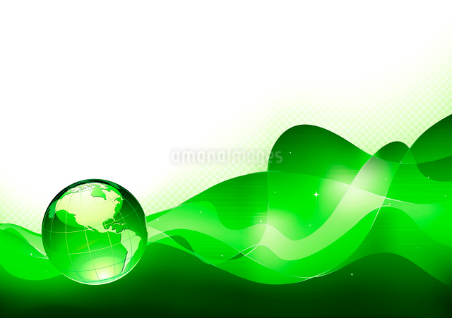 Vector illustration of abstract green Background with Glossy Earth Globeのイラスト素材 [FYI03072703]
