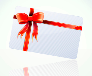 Vector illustration of decorated gift card with red ribbons and bowのイラスト素材 [FYI03072718]