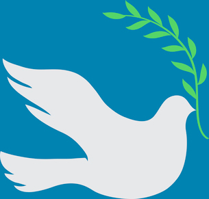 Vector Concept illustration of Beautiful white dove in flight holding an Olive Branchのイラスト素材 [FYI03072725]