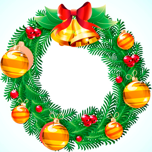 Vector illustration of green wreath with red berries, Christmas decoration and two bellsのイラスト素材 [FYI03072728]