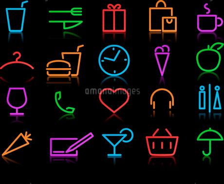 Vector illustration of color neon original style life Icon Setのイラスト素材 [FYI03072735]