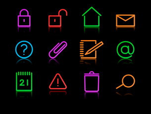 Vector set of elegant neon simple icons for common computer functionsのイラスト素材 [FYI03072748]