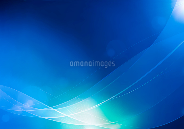 Vector illustration of blue abstract background made of light splashes and curved linesのイラスト素材 [FYI03072755]