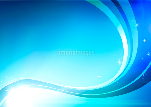 Vector illustration of blue abstract background made of light splashes and curved linesのイラスト素材 [FYI03072756]