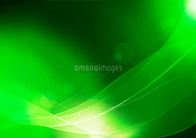 Vector illustration of green abstract background made of light splashes and curved linesのイラスト素材 [FYI03072757]