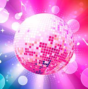 Vector illustration of abstract party Background with glowing lights and disco ballのイラスト素材 [FYI03072764]