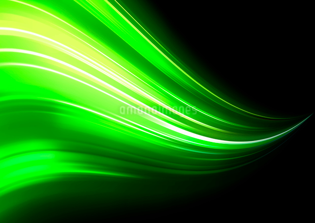 Vector illustration of neon abstract background made of blurred magic green light curved linesのイラスト素材 [FYI03072773]