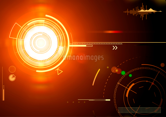 Vector illustration of orange abstract techno backgroundのイラスト素材 [FYI03072796]