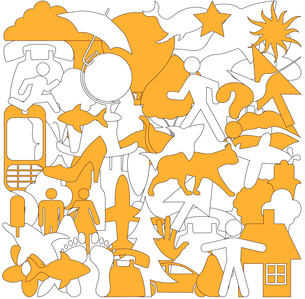 Vector illustration of different objects grupped into one abstract backgroundのイラスト素材 [FYI03072817]