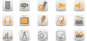Vector illustration of video and audio icons.You can use it for your website, application or presentのイラスト素材 [FYI03072824]