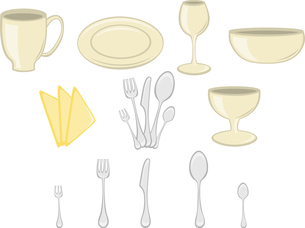 Vector illustration of Dining set. Kitchenware design elementsのイラスト素材 [FYI03072834]