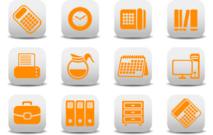 Vector illustration of office equipment icons. You can use it for your website, application or preseのイラスト素材 [FYI03072836]