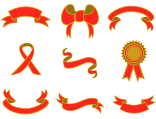 Vector illustration of  beautiful, elegant ribbon icons. You can decorate your website, applicationのイラスト素材 [FYI03072843]