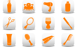 Vector illustration of  icon set or design elements relating to hairdressing salon.のイラスト素材 [FYI03072845]